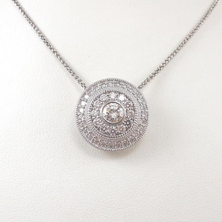14k White Gold Diamond Double Halo Pendant