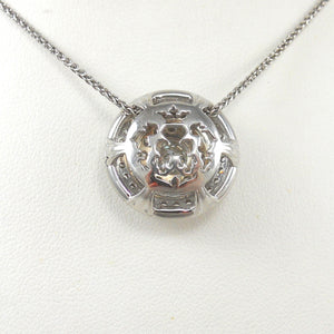 14k White Gold Diamond Double Halo Pendant Custom Made