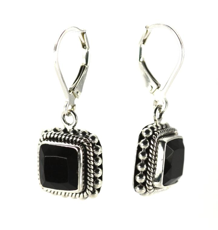 Bali Sterling Silver Faceted Black Onyx Earrings with Granulation and Rope Trim