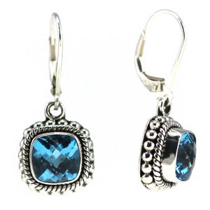 Bali Sterling Silver Faceted Swiss Blue Topaz Earrings with Granulation and Rope Trim