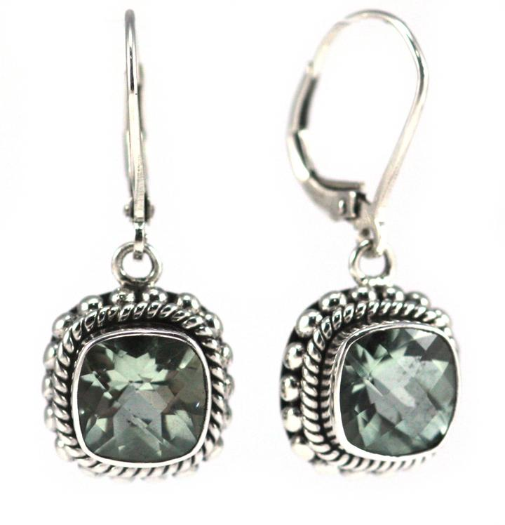 Bali Sterling Silver Faceted Green Amethyst Earrings with Granulation and Rope Trim