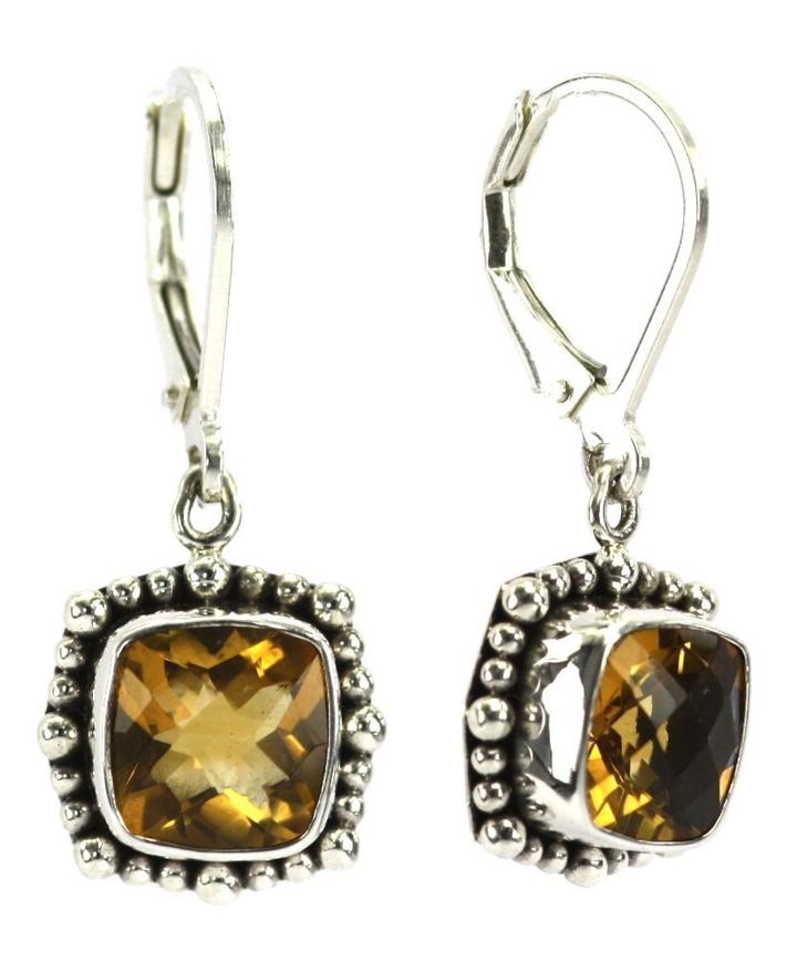 Bali Sterling Silver Citrine Earrings with Beaded Trim
