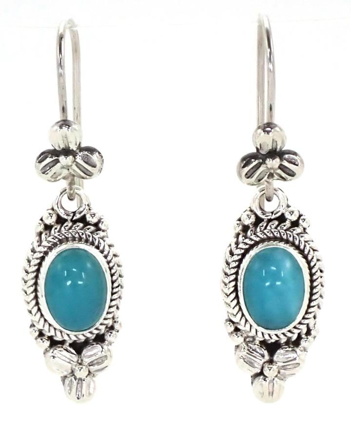 Bali Sterling Silver Earrings with Amazonite