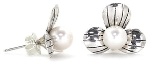 Bali Sterling Silver Pearl Flower Stud Earrings