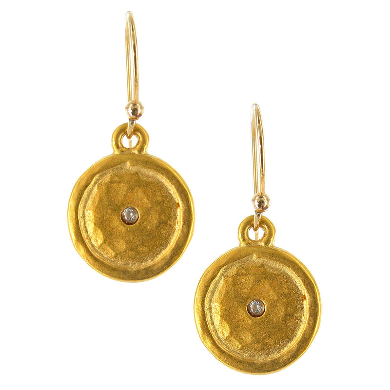 GOLD HAMMERED DISC WITH CUBIC ZIRCONIA ON GOLD FILLED WIRE