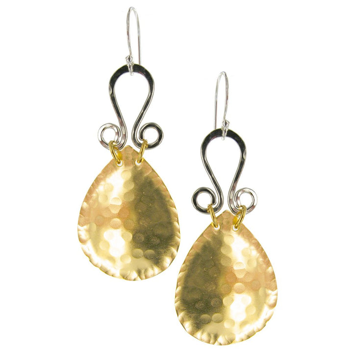 GOLD AND SILVER HAMMERED EARRINGS