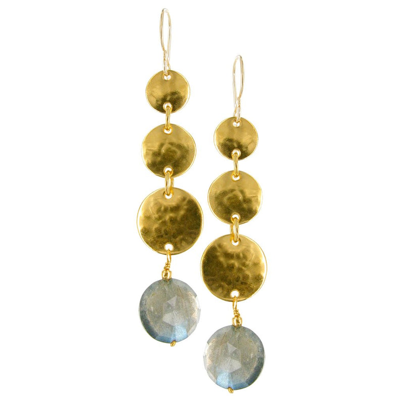 GOLD WITH SEMIPRECIOUS TEARDROP AND SQUARE CABOCHONS ON GOLD FILLED EARWIRE
