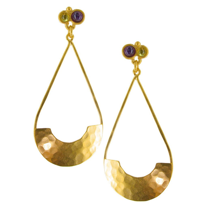 GOLD HAMMERED TEARDROP EARRINGS WITH SEMIPRECIOUS STONES
