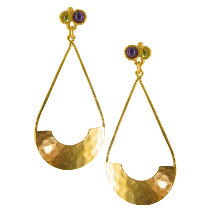 GOLD HAMMERED TEARDROP WITH SEMIPRECIOUS ROUNDS POST