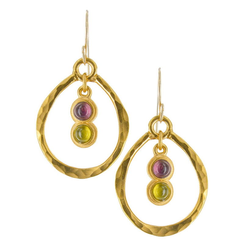 HAMMERED GOLD WIRE HOOP EARRINGS WITH SEMI PRECIOUS STONES
