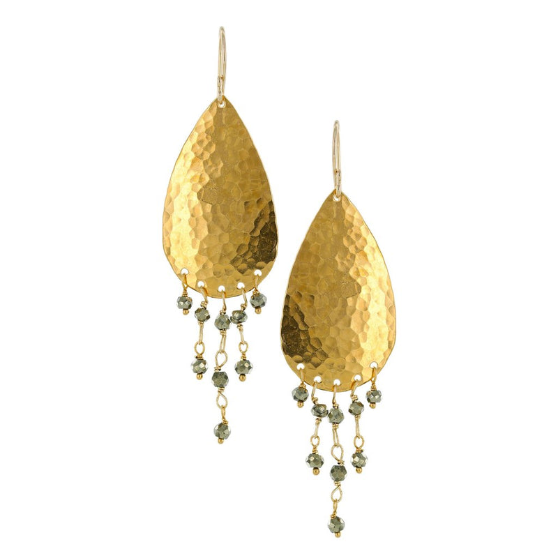 GOLD HAMMERED TEARDROP WITH CASCADING SEMIPRECIOUS STONES ON GOLD FILLED EARWIRE