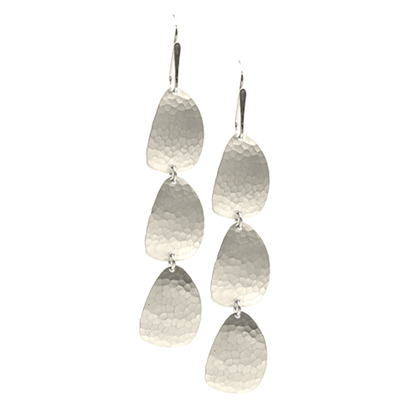 STERLING SILVER HAMMERED STACKED FREEFORM PETALS ON EARWIRE