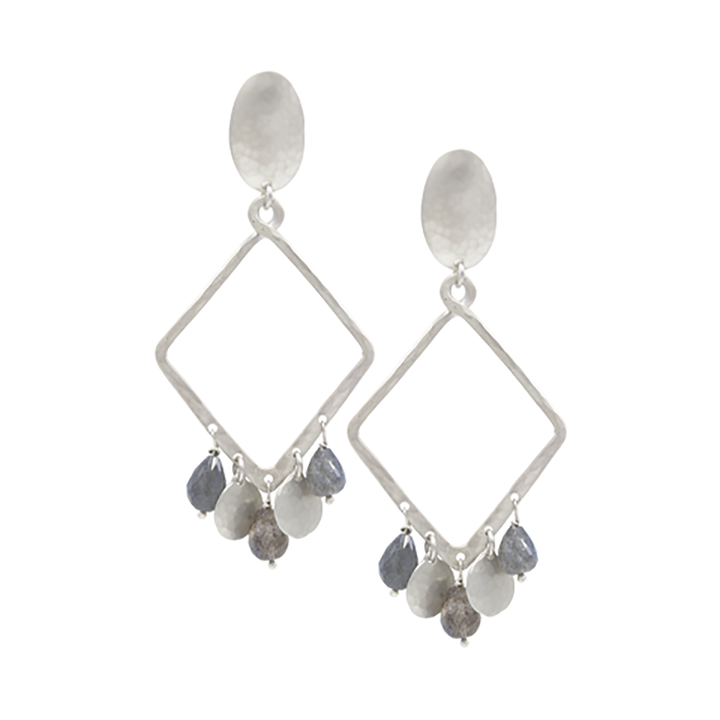 STERLING SILVER DIAMOND SHAPE HOOP EARRINGS WITH SEMIPRECIOUS STONES