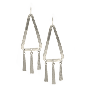 STERLING SILVER TRIANGLE SHAPE HOOP WITH SPIKE TASSELS ON EARWIRE