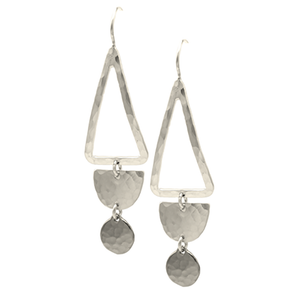STERLING SILVER TRIANGLE HOOP WITH HALF CIRCLE AND DISC EARRING