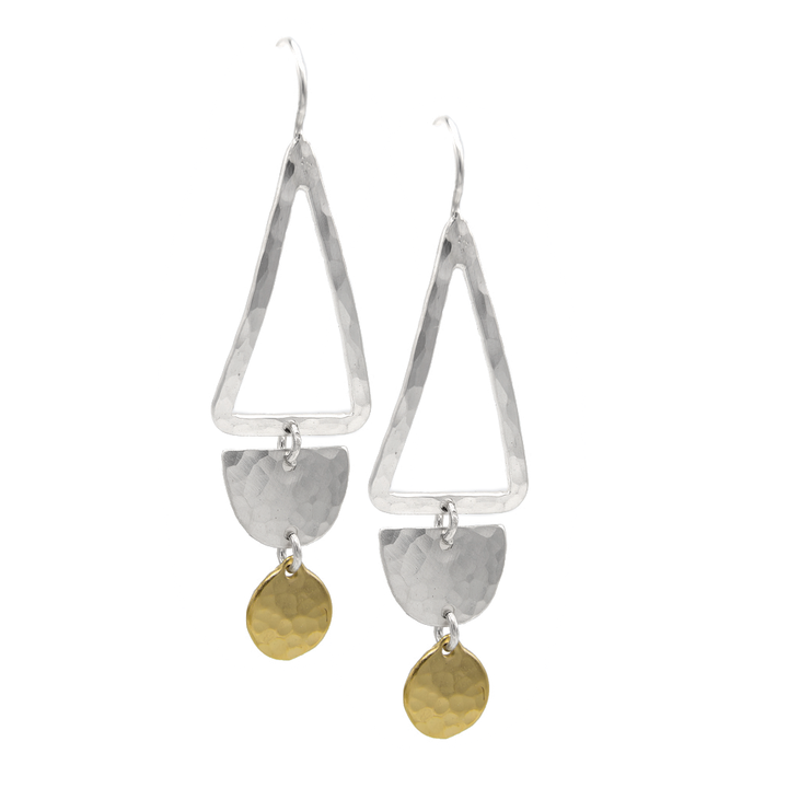 STERLING SILVER TRAPEZE WITH GOLD VERMEIL DISC ON EARWIRE