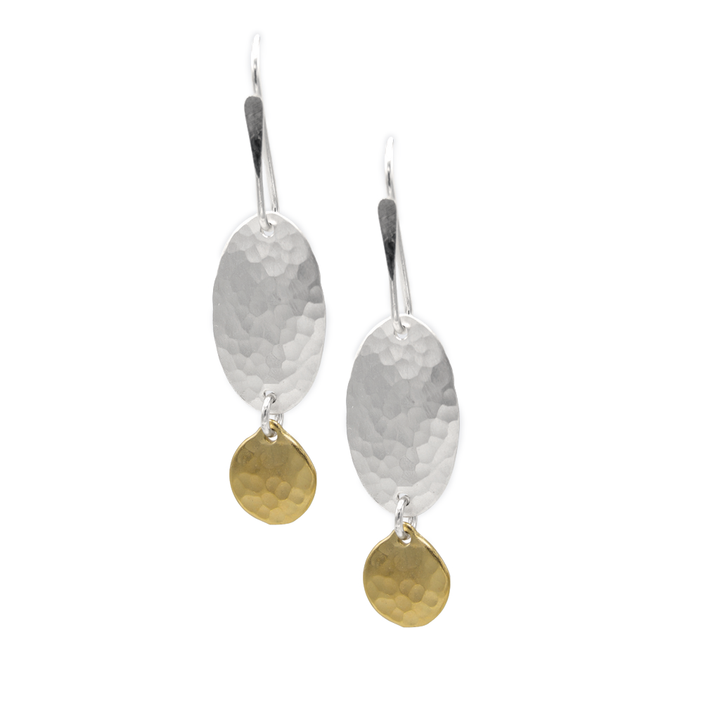 STERLING SILVER HAMMERED OVAL WITH GOLD VERMEIL DISC ON STERLING EARWIRE