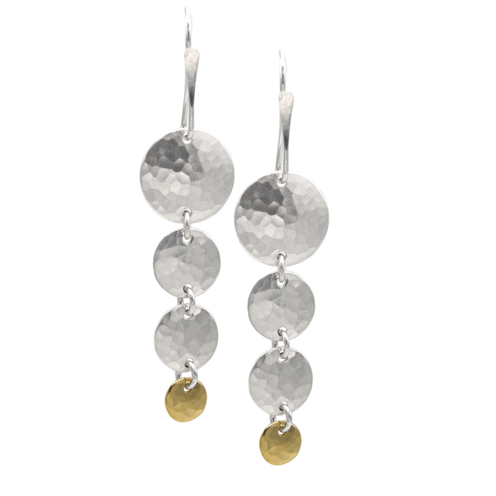 STERLING SILVER CASCADING DISCS WITH GOLD VERMEIL ON WIRE EARRINGS