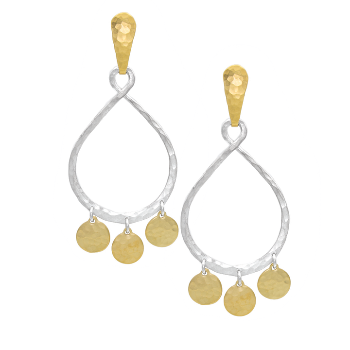 STERLING SILVER OPEN HOOP WITH GOLD VERMEIL DISCS ON GOLD VERMEIL POST