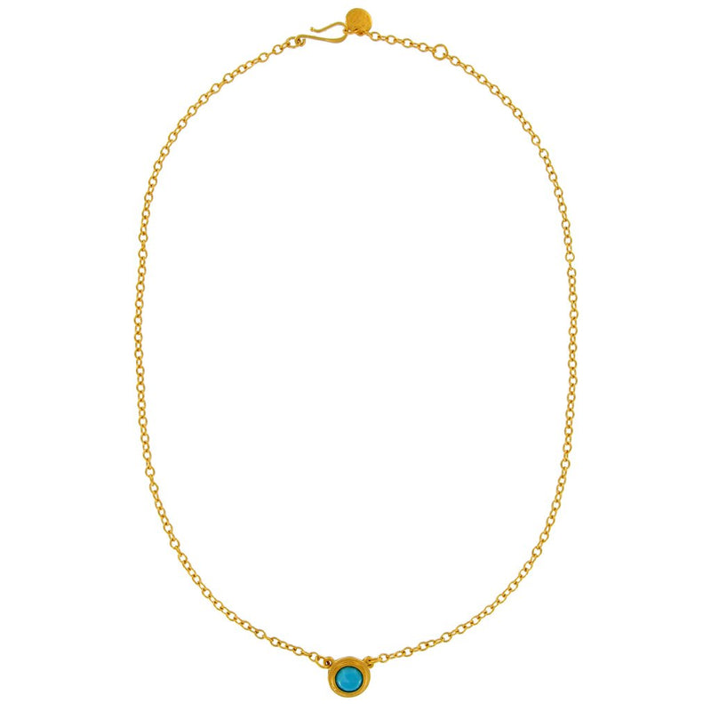 GOLD AND ROSE CUT ROUND SEMIPRECIOUS STONE ON FINE CHAIN NECKLACE