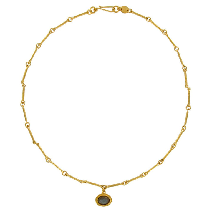 GOLD BEZEL SET WITH ROSE CUT SEMIPRECIOUS OVAL ON BAR CHAIN NECKLACE