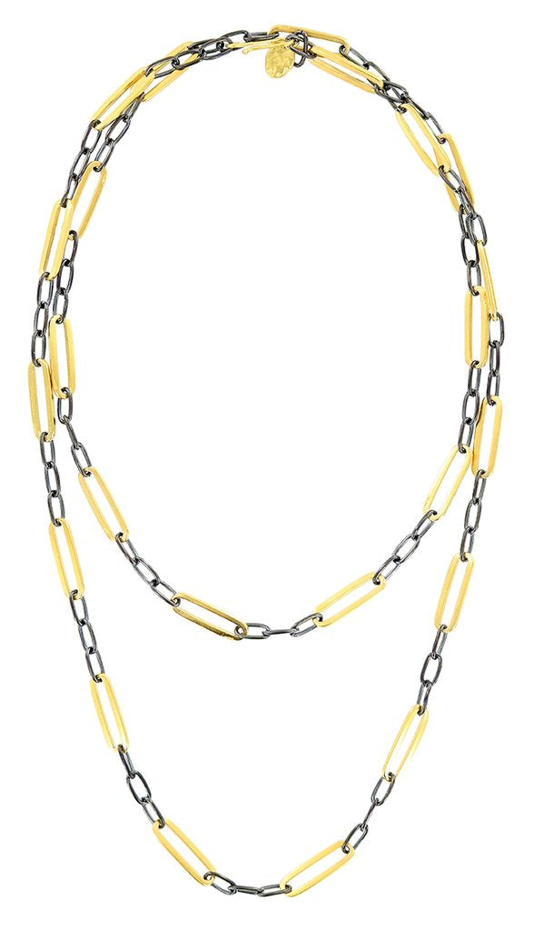 GOLD ELONGATED LINKS WITH OX ACCENTS LONG NECKLACE
