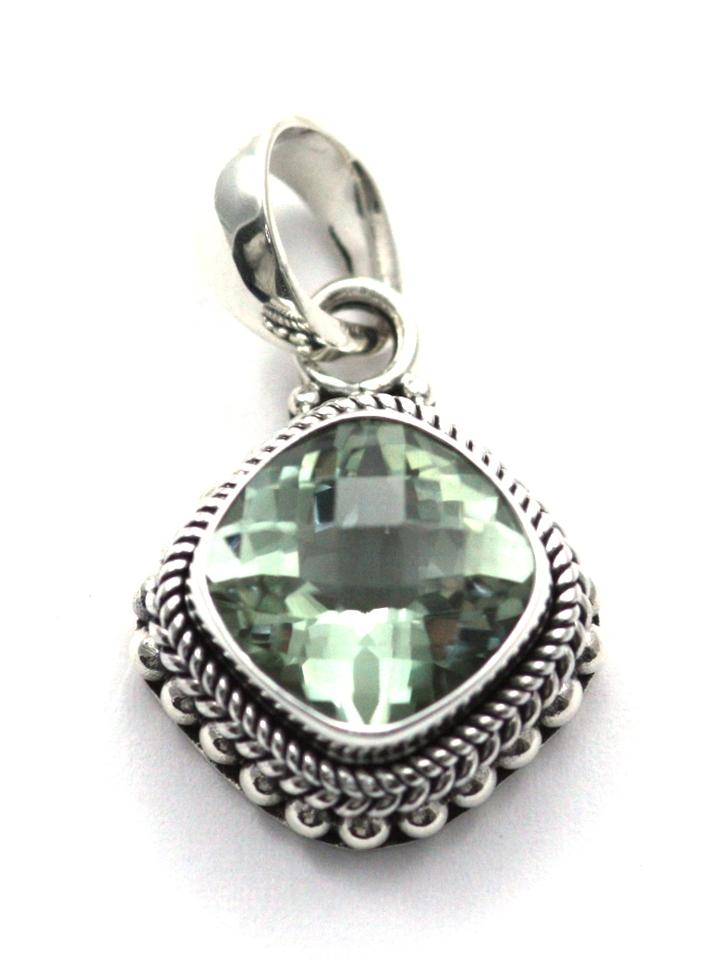 Bali Sterling Silver Antique Checkerboard Green Amethyst Pendant