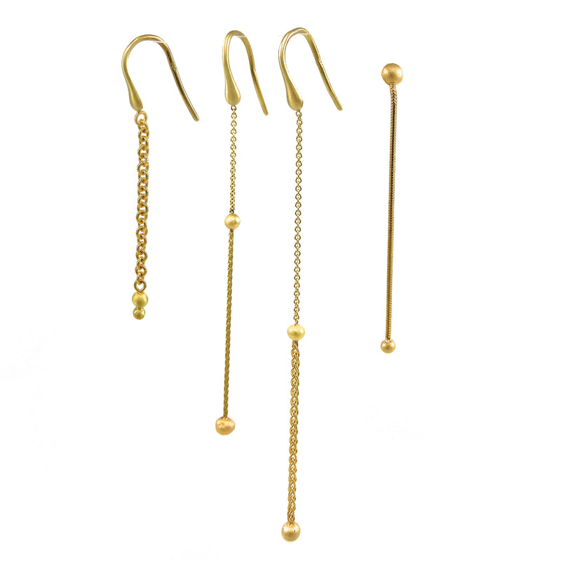 Yellow-gold dangle chain earrings for sale