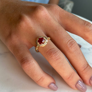 TK Anderson's Ruby & Diamond Halo Ring