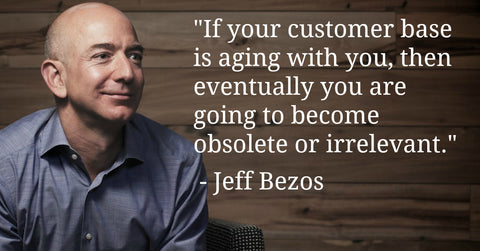 If Your Customer Base Is Aging With You, Then Eventually You Are Going to Become Obsolete Or Irrelevant - Jeff Bezos Quotes