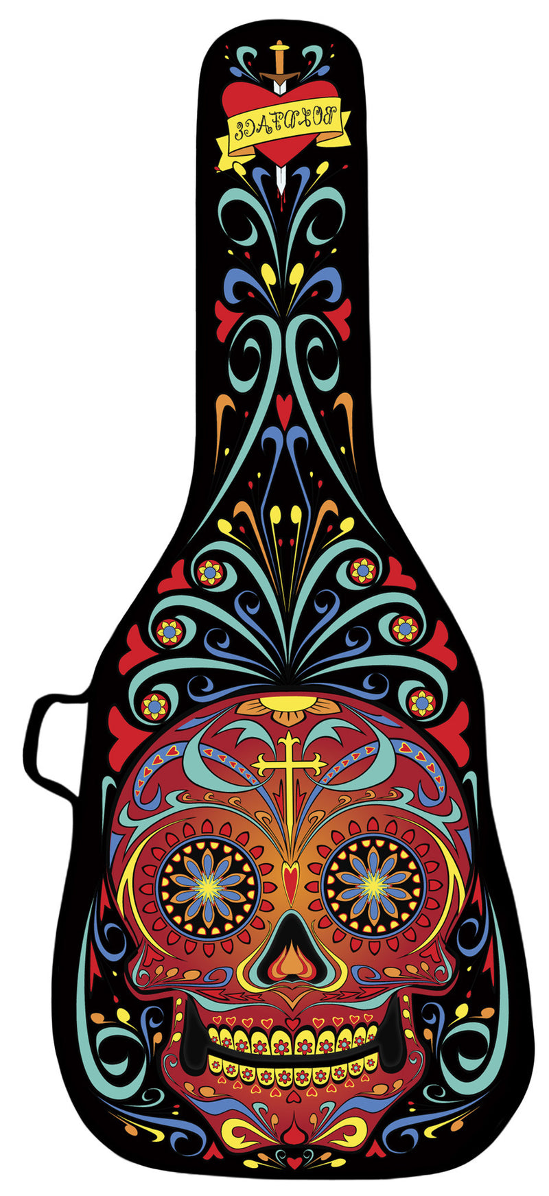 Day of the Dead Black Design Guitar Bag