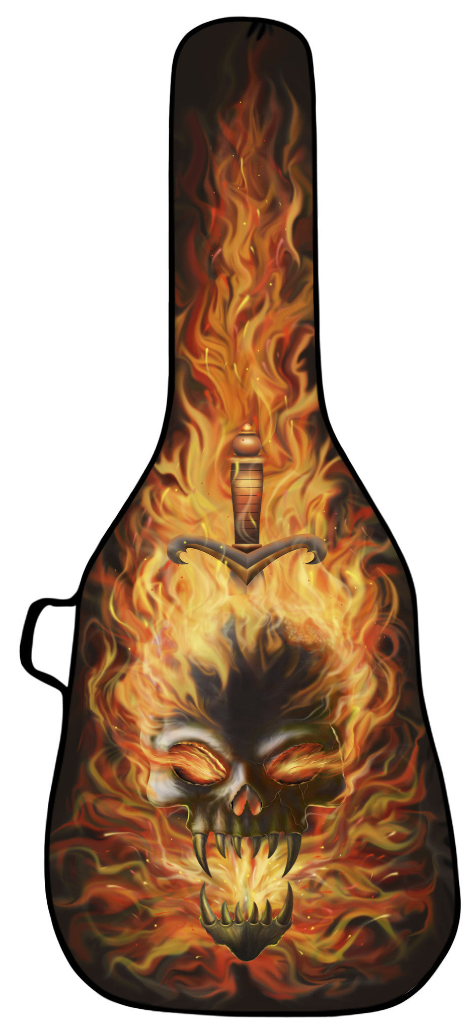 skull on fire design face only boldface