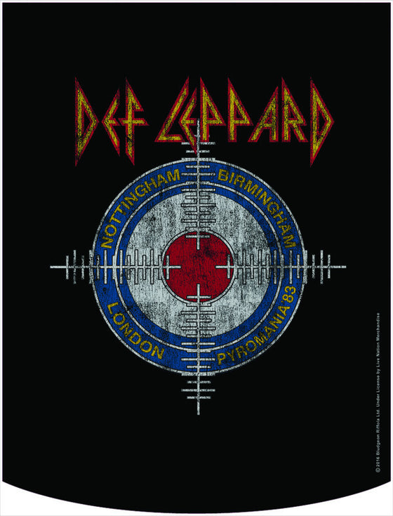 Def Leppard Official Pyromania Crosshairs Backpack Face Panel