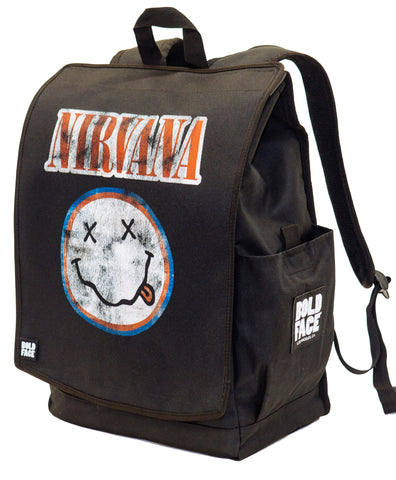 Nirvana Official Red White Blue Smiley Face Logo Backpack | BOLDFACE