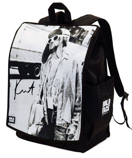 Kurt Cobain Black and White Photograph Backpack