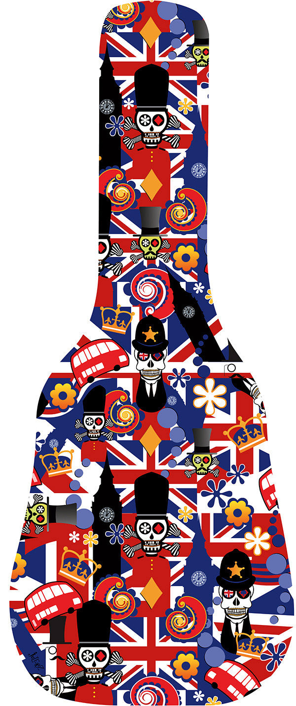 Brit Sugar Skull London Flag Guitar Bag