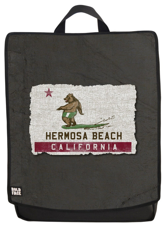 California Surfing Bear - Hermosa Beach Backpack Face Panel