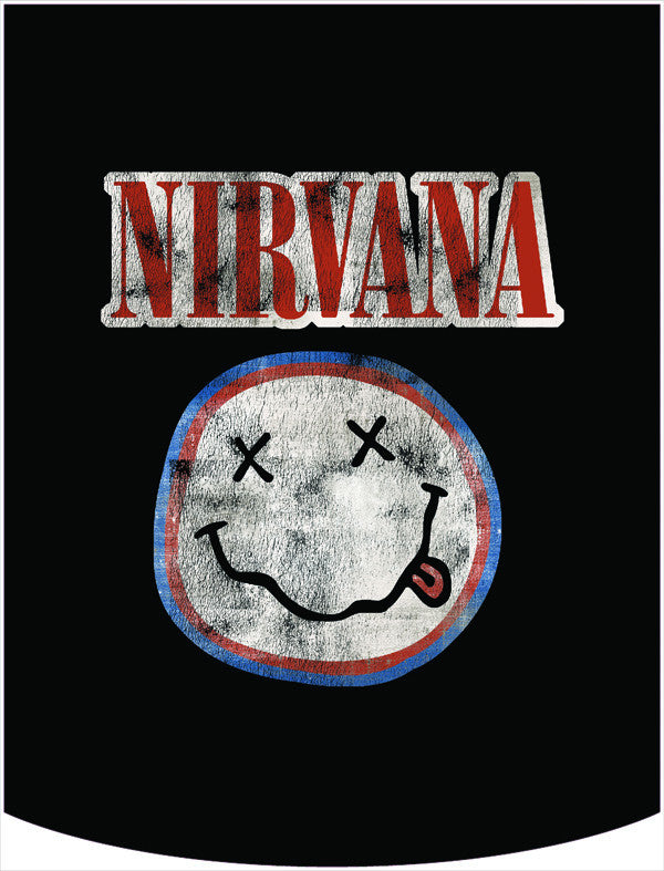 Nirvana Official Red White Blue Smiley Face Logo Backpack Face Panel