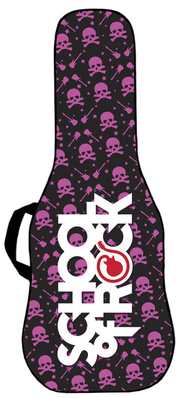 School of Rock - Skulls and Riffs Pink Guitar Bag Face Panel