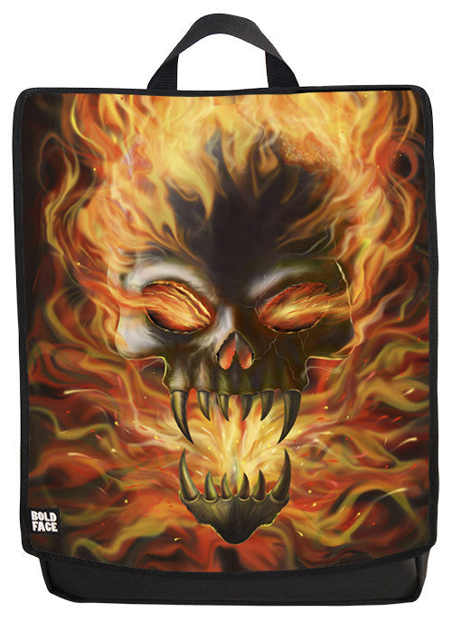 Skull on Fire Backpack Face Panel