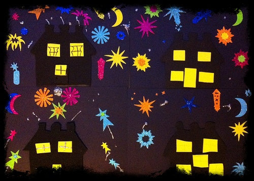 top five fireworks night craft ideas for kids, Fireworks Nightscape