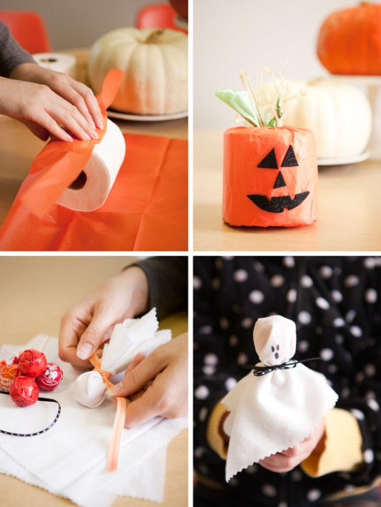 top five Halloween craft ideas for kids, Toilet Paper Pumpkins and ghost pops