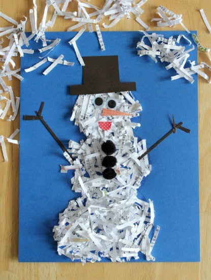 top five christmas craft ideas for kids, shredded paper snowman
