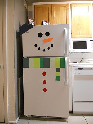 top five christmas craft ideas for kids, snowman refrigerator