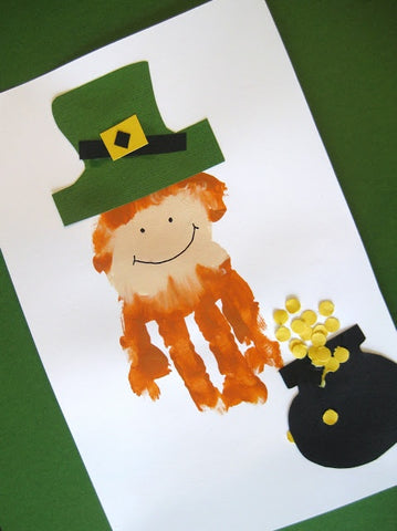 Blog, top five St Patrick's day craft ideas for kids, Leprechaun Hand Print Craft