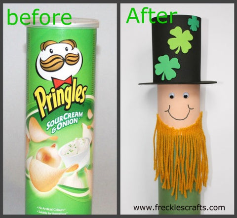 Blog, top five St Patrick's day craft ideas for kids, pringles can turned leprechaun