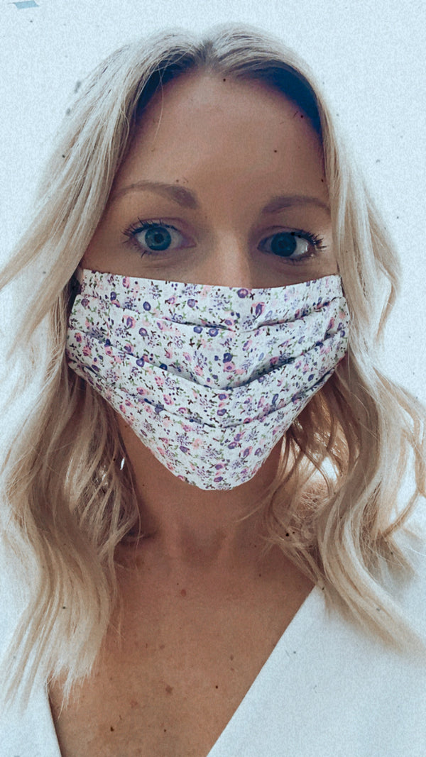 PURPLE FLOWER PROTECTION MASK