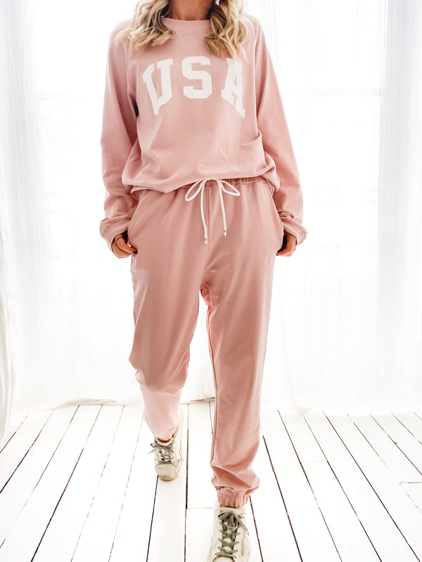 ENSEMBLE JOGGING USA ROSE