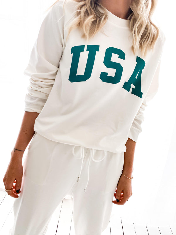 ENSEMBLE JOGGING USA BLANC