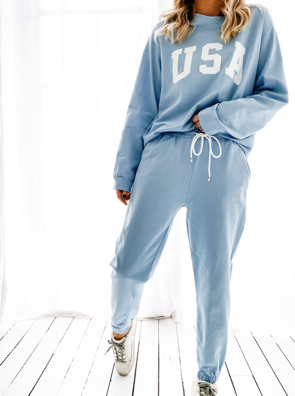 ENSEMBLE JOGGING USA BLEU